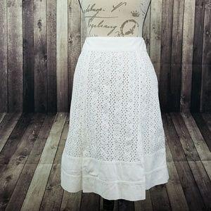 Oscar de la Renta white eyelet midi skirt